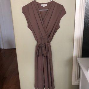 Shabby Apple Taupe Wrap Dress